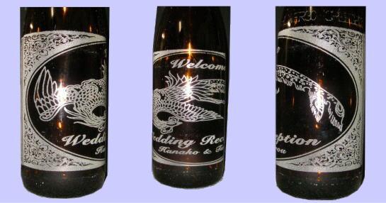 酒瓶(一升瓶)への彫刻